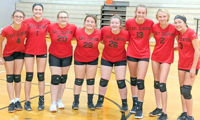 East Clinton eighth graders, from left to right, Mckinzey DeBord, Abbi Reynolds, Jersey Bain, Raven Clouse, Cheyenne Reed, Lauren Runyon, Molly Seabaugh and Jordan Collom.