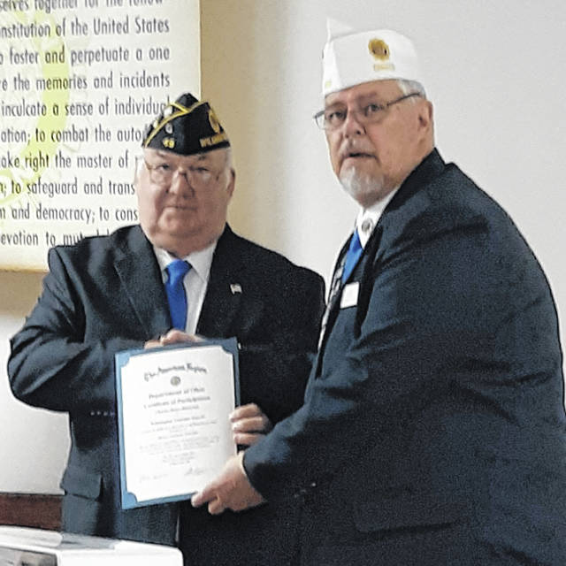 Shown are Wilmington Post 49 Historian Charles Rose and Ohio American Legion Historian Al Beyer.