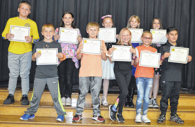 Denver Place Elementary's Fourth Grade Student Council members are recognized at a school board meeting. In the front row from left are Ryder Cooper, John Bean, Alia Aber, Kaelyn Brooks, and Ethan Villa; and back row from left are Gunnar Martin, Claire Connor, Lilly Jarrells, Haylee Ilg, and Hailey Brock. Not present: Sienna Hartley, Braxton Ruddle, Kevin McCrobie, Autumn Byrd, Gracen Storer, Ezabella Robinson, Emma Murphy, Tripp Maples, Arianna Fletcher, and Zeth Marks.