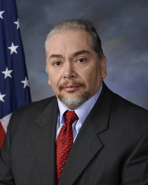 This image provided by Easterling Studios shows Dayton Police Det. Jorge Del Rio. Authorities  say a Del Rio, who was shot in the face Monday, Nov. 4, 2019, while serving a drug-related warrant died Thursday, Nov. 7, 2019, after being taken off life support. Police say detectives announced themselves as law enforcement officers before entering the house and Del Rio was shot entering a basement. (Easterling Studios via AP)