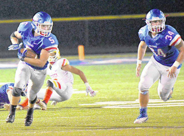 Clinton-Massie's Cayden Clutter (5) and Colton Trampler (34) from a game earlier in the season against Bishop Fenwick.
