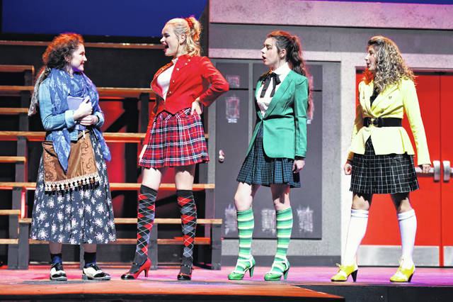 "From left, Veronica Sawyer, played by Jennah Blair, wishes to become popular in high school by seeking friendship with The Heathers: Heather Chandler (Bylee Martin), Heather Duke (Riley Gatlin) and Heather McNamara (Brittany Barnett). ""Heathers, the Musical"" will be presented by Wilmington College Theatre Thursday, Friday and Saturday (Nov. 21-23) at 7:30 p.m. at WC's Heiland Theatre. Reservations can be made by contacting the Theatre Box Office, located in Boyd Cultural Arts Center, weekdays, from 9 a.m. to noon and 1-4 p.m. at 937-481-2267. Tickets are $15 for adults, $13 for senior citizens and $8 for college and high school students with valid identification. The show is intended for mature audiences due to stage violence and language."
