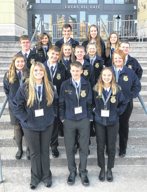 Blanchester FFA national convention attendees in front of Lucas Oil Stadium in Indianapolis.
