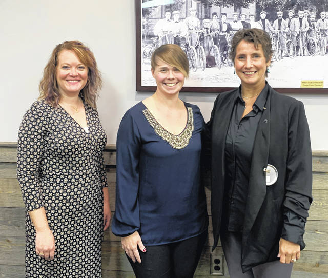 From left are Wilmington-Clinton County Chamber of Commerce Marketing and Communications Director Ruth Brindle and Executive Director Dessie Rogers with Wilmington Rotary Club President Katherine Tigar-Harrison.