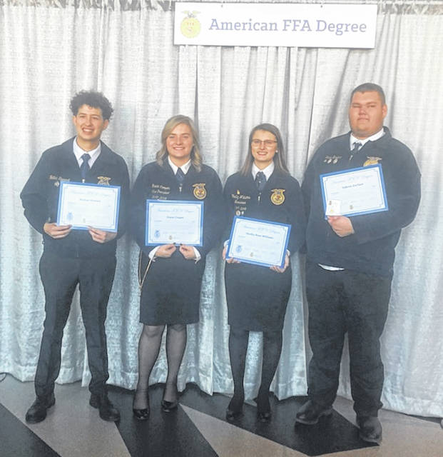 Shown are American Degree recipients Nathan Stewart, Grace Cooper, Shelby Williams and Dakota Zurface.