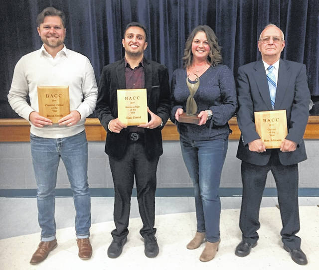 Congratulations to Blanchester Chamber of Commerce 2019 award winners, who were honored at the 64th annual awards dinner Tuesday evening. From left are: Ron Johnson, Citizen of the Year; Angela France, Businesswoman of the Year; Eaisa David, Businessman of the Year; and Brent Smith, Community Choice Award winner.