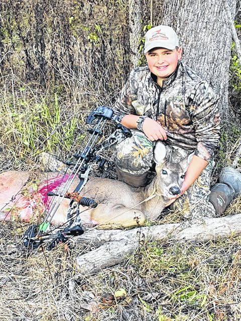 Clinton-Massie freshman Jonathan Rumbarger, 14, bagged this deer with a long bow Nov. 2, according to worker at Spillway Carryout in Oregonia.