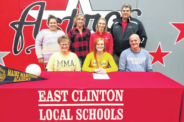 "East Clinton High School senior Myah Jones has committed to continue her volleyball career at Maine Maritime Academy, an NCAA Div. III institution located in Southern Maine. She plans to study Marine Biology and Small Vessel Operations. She was recruited by head coach Trish Carver. ""I believe Myah is going to be an excellent addition to our volleyball team and our campus community,"" coach Carver said. ""She is focused with a great personality. She has a uniqueness that I can't wait to welcome to the team, and I believe she has skill and versatility that will make us better immediately. I trust her to be an excellent teammate. Here at MMA, we are students and athletes, and I can't wait for Myah to get in the classroom and in the lab in addition to on the volleyball court. I am grateful for the relationship we already share, and I am eager to spend the next four years, and beyond, helping Myah achieve all of her goals."" Jones is a four-year varsity volleyball player and was second team All-SBAAC as a junior and first team as a senior. When she takes the court for MMA, Jones will be the first EC graduate to play at the college level, EC school officials said. In the photo, from left to right, front row, mother April, Myah, father Cliff; back row, coach Sarah Sodini, coach Kelli Jamison, coach Sam McGraw, and EC athletic director Jim Marsh."