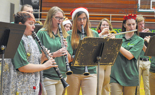The Wilmington College Quaker Thunder Pep Band plays selections from its 2019 football season as well as Christmas song favorites. The musical presentation was held Sunday evening in Hermann Court where the pep band will play at WC men's and women's basketball games.