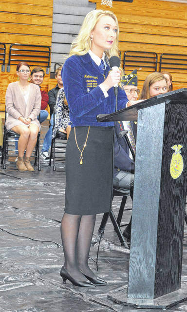Wilmington FFA President Madison Gilbert welcomes local veterans, students and community members to the Wilmington FFA's Veterans Day ceremony.