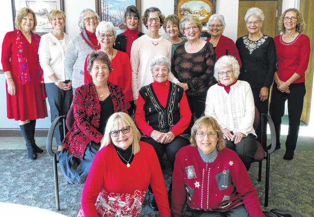 Members present enjoying the afternoon were: back row, Faye Burton, Peggy Morgan, Marilyn Myers, Candy Fenner, Brenda Ballinger, Patty Ballinger, Holly Drummond, and guest Vickie Strange; third row, Sue Zimmerman, guest Kim West, and Brenda Haley; second row, President Cindy Petrich, Beth West, and Jackie Ballinger; and, floor, Joyce Kelly and Terry Hoggatt.