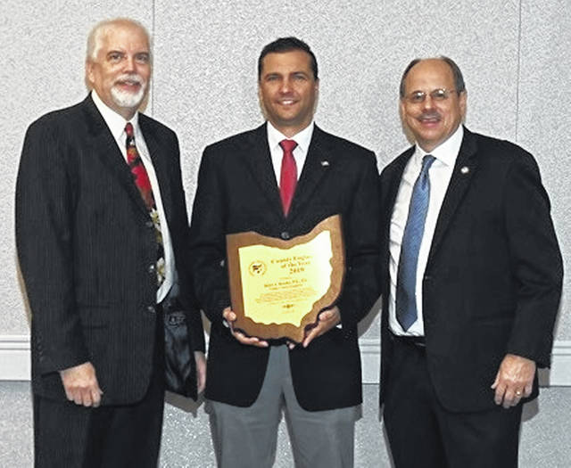 From left are Dean C. Ringle, Executive Director of CEAO; Brett A. Boothe, Gallia County Engineer; and Jeff Linkous, Clinton County Engineer and CEAO Past President.