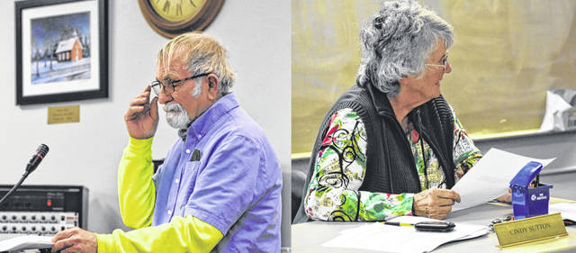 Thursday's Blanchester Village Council meeting marked the final meeting for Streets Department Supervisor Wayne Clifton, left, and Councilmember Cindy Sutton.