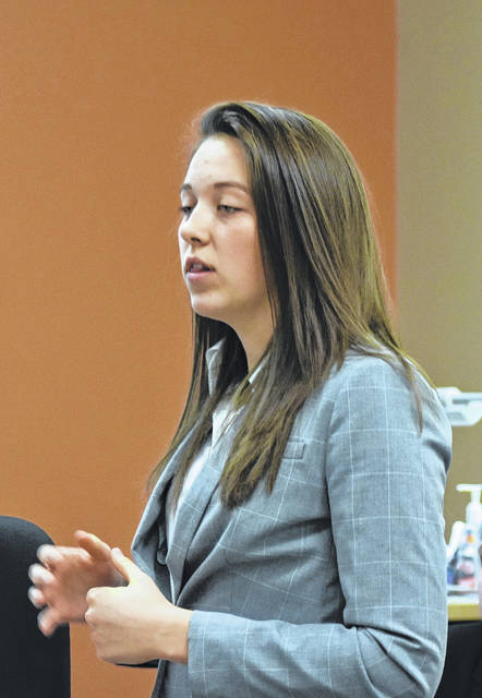 Kelly Johnson gives her opening statements for the prosecution in the mock trial team's case on Tuesday at the Boyd Cultural Arts Center at Wilmington College.