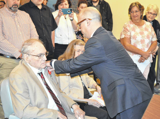 U.S. Army and World War II veteran Lawson Adkins was awarded the French Legion of Honor — the nation's highest honor — by the Consulate General of France in Chicago, Guillaume Lacroix, in a patriotic ceremony Saturday morning at Ohio Living Cape May, where Adkins resides. Many family members, friends and local veterans were part of the event, where Wilmington Mayor John Stanforth also proclaimed it Lawson Adkins Day in the city.