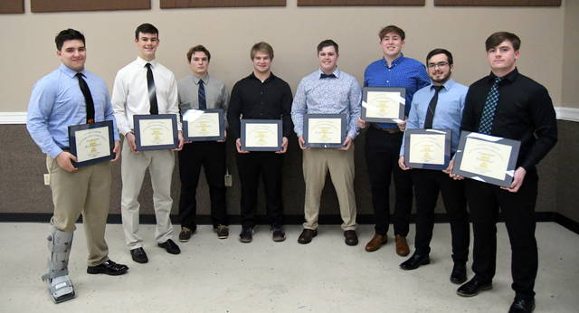 The 2019 Lombardi Award nominees, from left to right, Brock Rappach, Chris Custis, Christian Stubbs, James Peters, Brody Muterspaw, Davis Wulf, Garrett Elzey and Mason Huff.