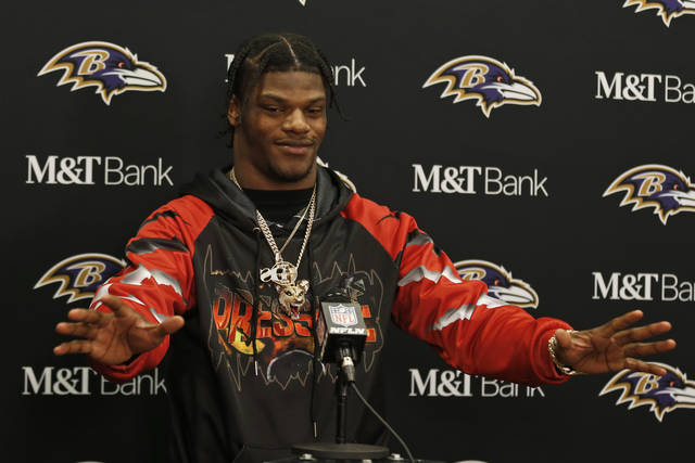 Baltimore Ravens quarterback Lamar Jackson answers questions during a news conference after the Ravens defeated the Cleveland Browns in an NFL football game, Sunday, Dec. 22, 2019, in Cleveland. (AP Photo/Ron Schwane)