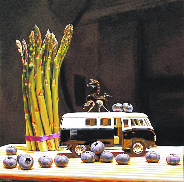 """This 36x36-inch still life portrait on canvas by Jason Morgan is titled """"Blueberries for Black."""""""