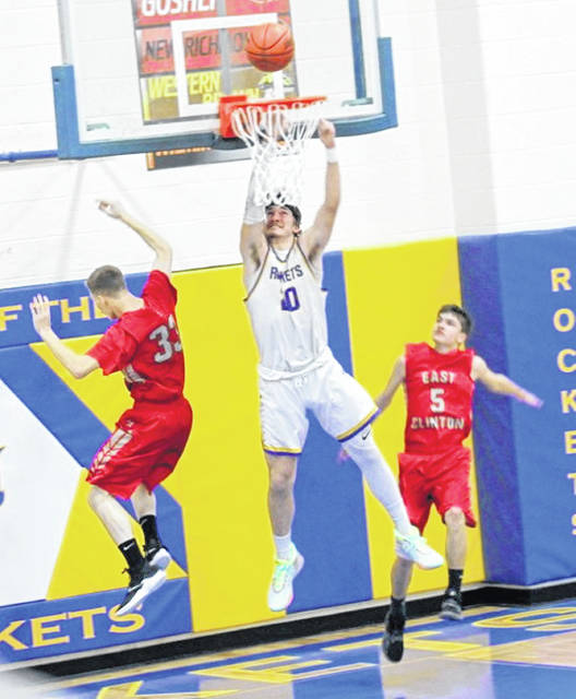 Skyler Schmidt was ejected shortly after this dunk attempt Friday night against East Clinton. (News Journal Photo Melony Arnold)