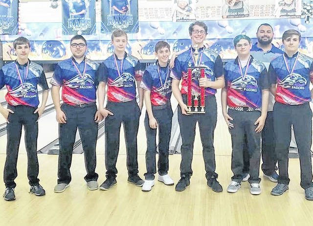 The Clinton-Massie boys bowling team, champions of the Muskingum Invitational Monday at Royal Z Lanes, from left to right, Braeden Adams, Mitchell Lennon, Cole Johnston, Adin Lamb, Logan Rauh, Luke Campbell, coach Tyler Hayslip, Tyler Keck.