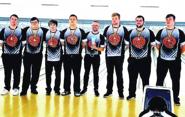 The Wilmington High School boys bowling team finished second Saturday at the Sweet 16 bowling tournament at Poelking South. Team members are, from left to right, Isaac Martini, Hunter Wright, Hunter Gallion, Jordan Tackett, coach Dustin Brown, Grant Pickard, Elijah Martini and Jordan Macik