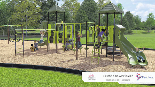 An artist's rendering of the planned playground equipment at the park in Clarksville.