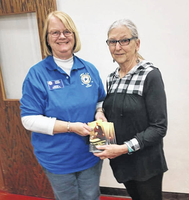 From left are Linda Mider of the American Legion Auxiliary, Marion Unit 179, Blanchester, and the event's guest lecturer, Elaine Silverstrim.