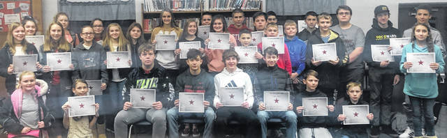 East Clinton Middle School's Astro Achiever Award Breakfast was held Thursday in school library. The following students were nominated by their teachers for excellence in the classroom for citizenship, work ethic, and behavior. Great job students! They are: Shelby Prater, Austyn Jones, Austin Alloy, Denver Day, Lauren Runyon, Elley Hosler, Jake Woods, Curtis Singleton, Haley Carroll, Matthew Colflesh, Parker Barnhart, Austin Vinion, Noah Mess, Madison Balon, Lillian Ward, Brianna Haley, Sydney Beiting, Colton Brockman,Hayden Beiting, Jordan Collom, Ashlyn Tate, Aaron Rolfe, Bryson Schutte, Mitchell Ellis, Karsyn Jamison, Baylie Simpson, Novalee Dotson, Joslyn Balon, Nicholas Wilmoth, Kayden Hiles, Tonnie Lutz, Draeyden Brewer, Isabel Creek, Reagan Hale, Maddix Crowe, Dylan Arnold, Jakob Campbell, Rilee Kempton, Peyton Lilly, Darien Clouse, and Stephanie Lambert.