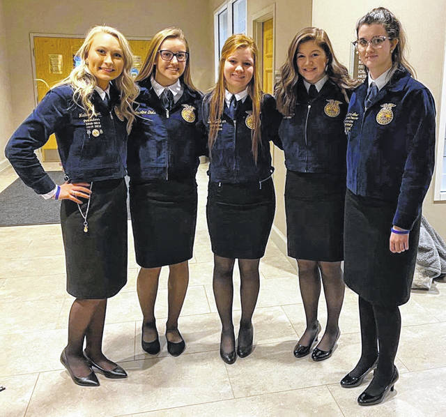 From left are Madison Gilbert, Caroline Diels, Darcie Zeckser, Mariah Knowles and Rachel Lowe.