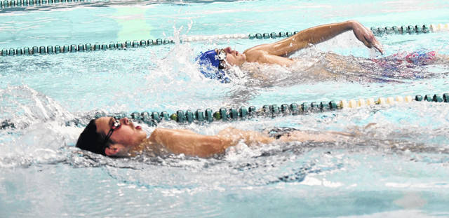 Clinton-Massie's Charlie Hale (top) and Wilmington's Luke Mulvey (bottom) both won events during Thursday's meet at Wilmington College.