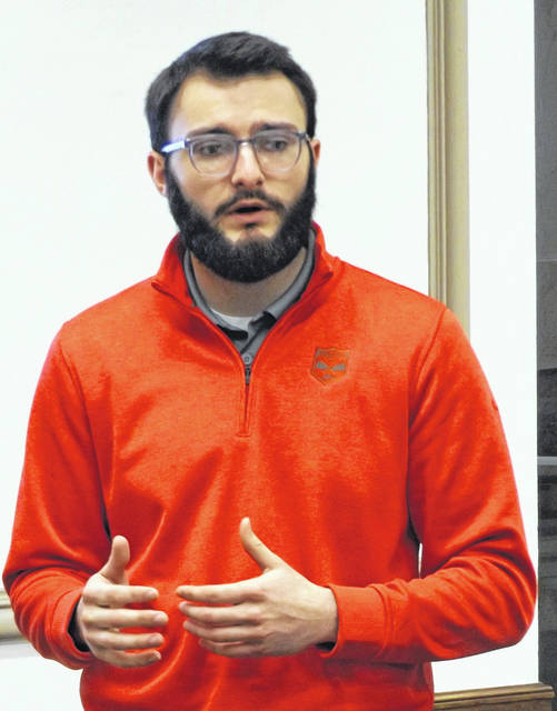 Blanchester Council Member Reilly Hopkins speaks Monday with Clinton County commissioners.