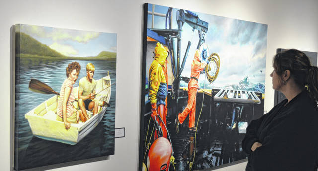 An opening reception was held Wednesday night for a Wilmington College exhibit of works by Wilmington artist Jason Morgan.