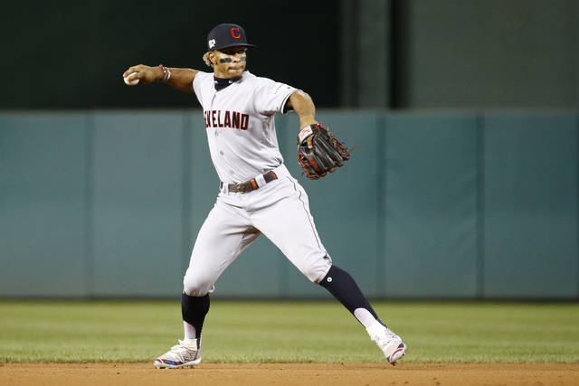 FILE - In this Sept. 27, 2019, file photo, Cleveland Indians shortstop Francisco Lindor relays to first after fielding a ground ball during a baseball game against the Washington Nationals in Washington. Lindor's unsettled future with Cleveland hangs over the team like a darkening storm cloud. And when he and the Indians arrive at training camp later this month in Goodyear, Ariz., the 27-year-old's situation will likely be a daily topic until there is some resolution.(AP Photo/Patrick Semansky, File)