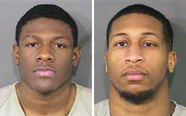 These photos provided by the Franklin County Ohio Sheriff show Jahsen Wint, left, and Amir I. Reip, right. Police say two Ohio State University football players have been charged with rape and kidnapping. The Columbus Dispatch reports that 21-year-old defensive players Amir I. Riep and Jahsen L. Wint were booked into jail early Wednesday, Feb. 12, 2020. (Franklin County Ohio Sheriff via AP)