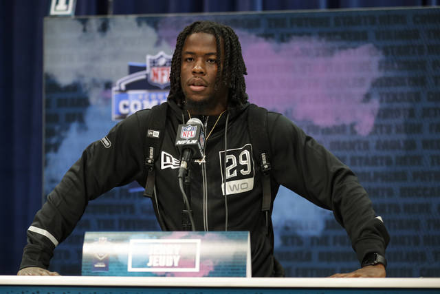Alabama wide receiver Jerry Jeudy speaks during a press conference at the NFL football scouting combine in Indianapolis, Tuesday, Feb. 25, 2020. (AP Photo/Michael Conroy)