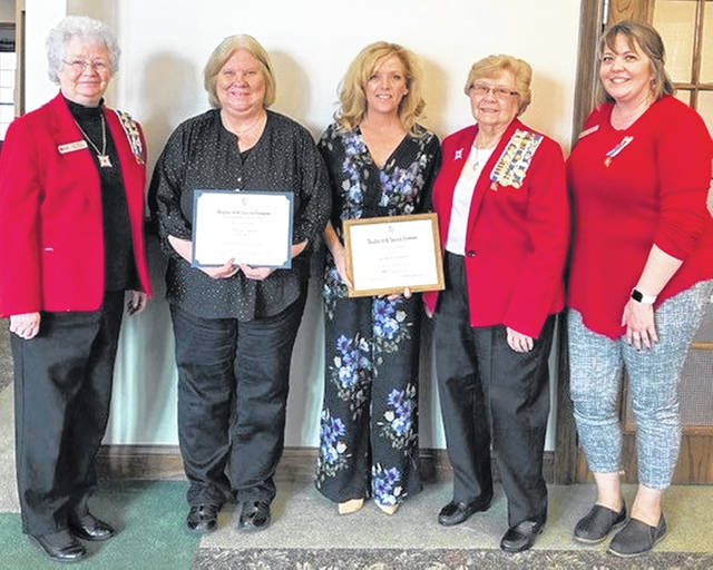 Shown are: Judy Sargent, George Clinton Chapter Chair of Community Service Award; American History Teacher Nancy Reeves; Community Service Award winner Jennifer Woodland; Regent Frances Sharp; and George Clinton Chapter member Karin Kratzer.