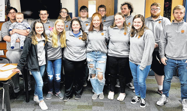 From left are: back row, Gehrig Huber (with little bother Aaron), Wyatt Goff, Alyssa Storer, Marcus Schuster, Alex Zugg, Nick Roush, and Trevor Alexander; and, front row, Rory Housh, Ella Ziegler, Chloe Crumbley, Tanner Vance, Jenna Allemang, and Siobhan O'Boyle.