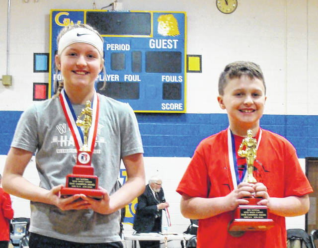 Jackson Earley of East Clinton and Addison Martin of Wilmington will compete in the Elks Great Lakes Regional Hoop Shoot in March. Earley and Martin were age group champions Saturday in the Elks State Hoop Shoot in Gahanna. Earley won the boys 8-9 year old division by making 23 of 25 free throws. Martin is the girls 10-11 year old champion. She made 22 of 25 free throws during regulation then made four out of five free throws in a shoot-off for first place. These two state champions will compete against winners from Michigan and Indiana in the Region 4 competition in Angola, Ind.