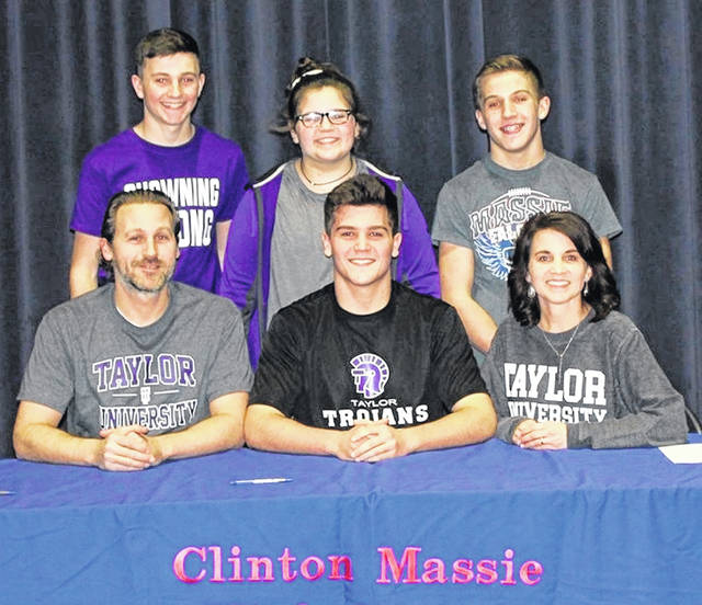 Clinton-Massie senior Braxton Green has chosen to continue his athletic and academic career at Taylor University, an NAIA school in Upland, Ind. He plans to study Exercise Science, Pre-Physical Therapy. In the photo, from left to right, front row, Tate Green, Braxton Green, Leah Green; back row, Braydon Green, Brylie Green and Brodie Green.