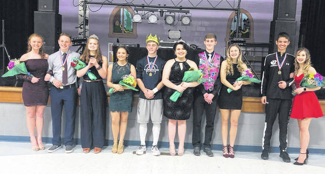 From left are freshmen attendants Maddie Tipton and Dustin Trace; last year's queen Natalie Steward; senior attendant Shawna Haynes; seniors, king Braden Roy and queen Jade West; juniors Ray Furnish and Becca Kratzer; and sophomores Seth Akers and Addison Tissandier.