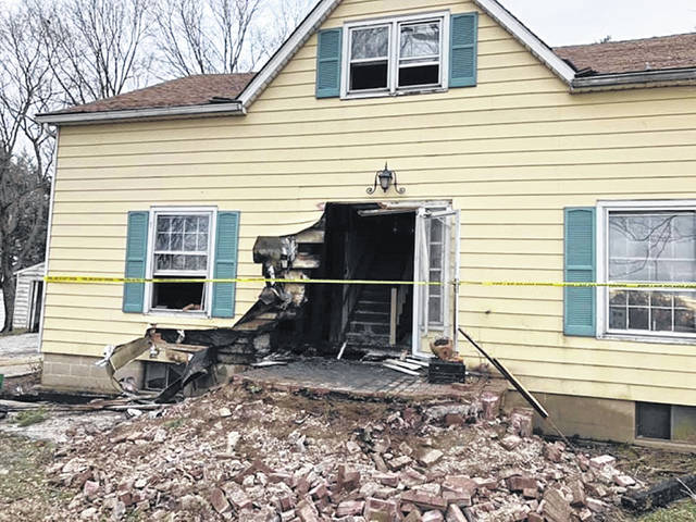 The front entry-way of this North Clarksville Road residence sustained fire damage.