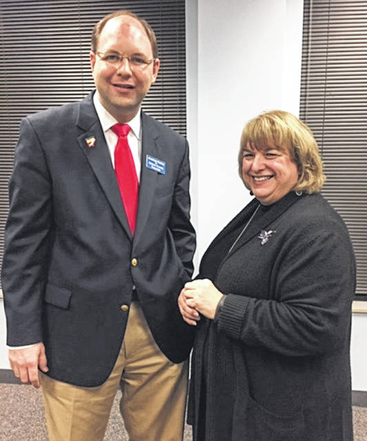 Jonathan McKay, Republican primary candidate for Clinton County Recorder, with Clinton County A.C.T. President Rhonda Wheasler.