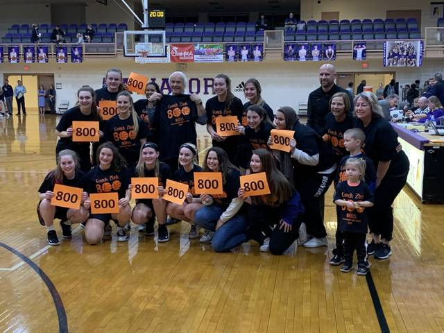 Ashley Vaughn, daughter of Wilmington High School graduate Andy Vaughn, is a guard on the Beavercreek High School girls basketball team. Ed Zink, the BHS coach, won the 800th game of his career on Tuesday and will go for 801 Monday against Fairmont. Vaughn averages 5 points, 2 assists and 3 steals per game for Beavercreek. Vaughn is in the front row at the left.