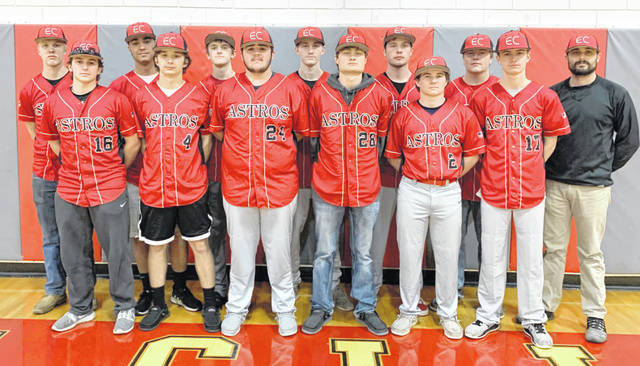 The East Clinton High School baseball team, from left to right, front row, Matthew Mitchell, Isaiah Curtis, Gage McConahay, Cade Stewart, Brody Fisher, Dakota Collom; back row, Matthew Horn, Jaden Singleton, Quinten Tolle, Matthew Hall, Colton Vadnais, Mitchell Bean. Team member Cameron Vadnais was not present for the photo.