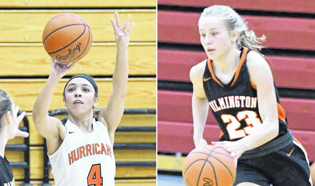 Wilmington's Jasmine Jamiel (left) and Sophie Huffman (right) will play in all-star games at Bethel High School in Tipp City this weekend.