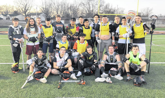 The Wilmington High School lacrosse team, from left to right, front row, Logan Camp, Rudy Cresswell, Dylan Dummitt, Conner Mitchell, Chris Custis; middle row, Brayden Cioca, Manny Castillo; back row, Eric Maus, Jacob Frazier, Mason Klamroth, Miguel Espinoza-Allen, Tyler Breedlove, Donovan Vires, Nino Gonzalez, Daniel Stevenson, Cameron McEvoy, Cameron Tucker, Logan Salitan-Ennis, Phil Fulton and Brady Leathley.