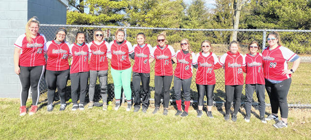 The East Clinton High School softball team, from left to right, Rhylee Luttrell, Brianna Rider, Maura Elzey, Lanie Clark, Haven Bosier, Savannah Tolle, Jericka Boggs, Lydia Kessler, Josie Runk, Alycia Barker, Alexis Rolfe and Alex Shepard.