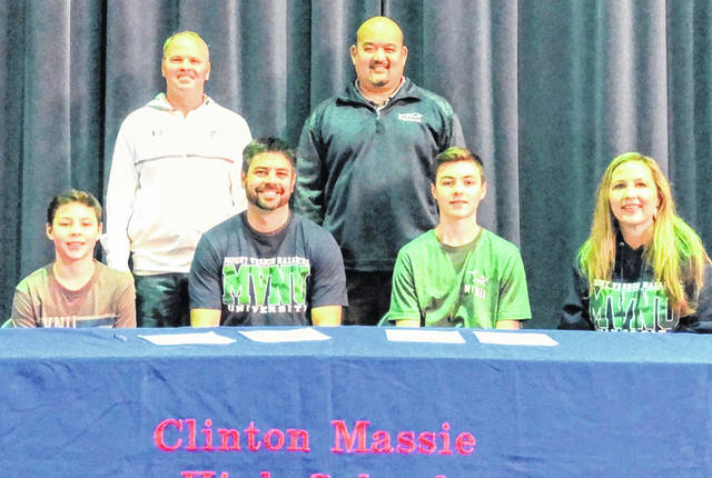 Clinton-Massie senior Austin Faucett has chosen to play tennis in college at Mount Vernon Nazarene University, an NAIA institution located northeast of Columbus. In the photo, from left to right, are Avden Faucett, Clinton-Massie head coach Rod Amburgy, Aaron Faucett, Mount Vernon Nazarene coach Alvin Cheng, Austin Faucett and Amber Faucett. Faucett's Clinton-Massie teammate Clayton Amburgy also has signed with MVNU.