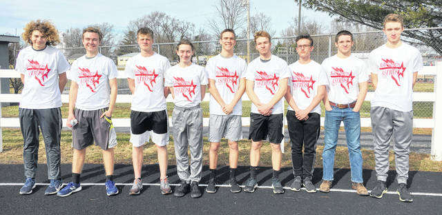 The East Clinton High School boys track and field team, from left to right, Dallas Harner, Van Frye, Lasse Hoffmann, Tanner Fooce, Landon Runyon, Aidan Henson, Blake Willey, Zachary Vest, Justin Arnold.
