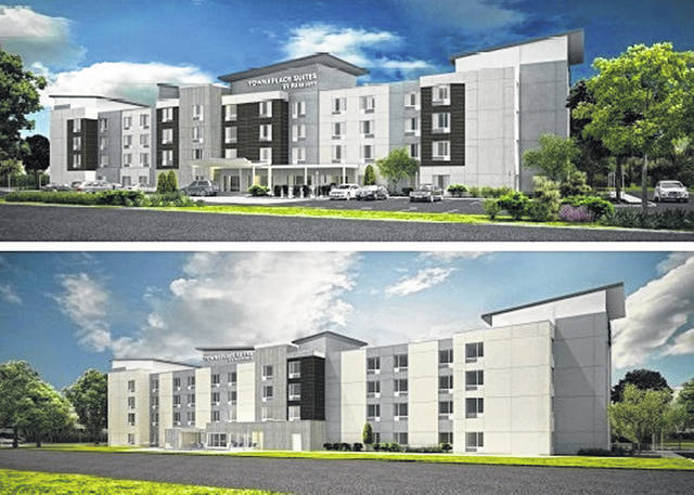 These are artist renderings indicative of the planned five-story TownePlace Suites by Marriott hotel on Holiday Drive in Wilmington, between the existing three-story Holiday Inn Express and the four-story Hampton Inn & Suites. ALT Architecture Senior Associate Brian Weaver said they were very challenged by the size of the lot to have enough rooms in the space, and that's why they opted for a five-story hotel (rather than the four-story in the image). The new exterior prototypes of TownePlace Suites by Marriott have a soft beige color, with some grays and black in it. The top image is of the hotel's front, while the bottom image is of the back. Developers are hoping construction starts in April.